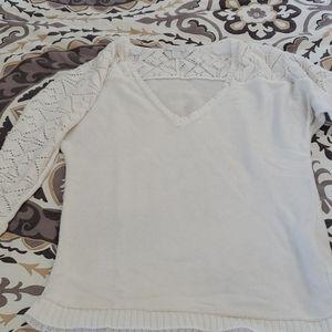crochet detail white sweater